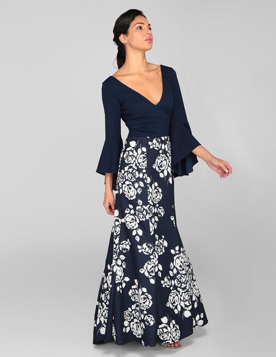 Vestido Rue De La Paix Azul Marino Con Diseño Floral Noche