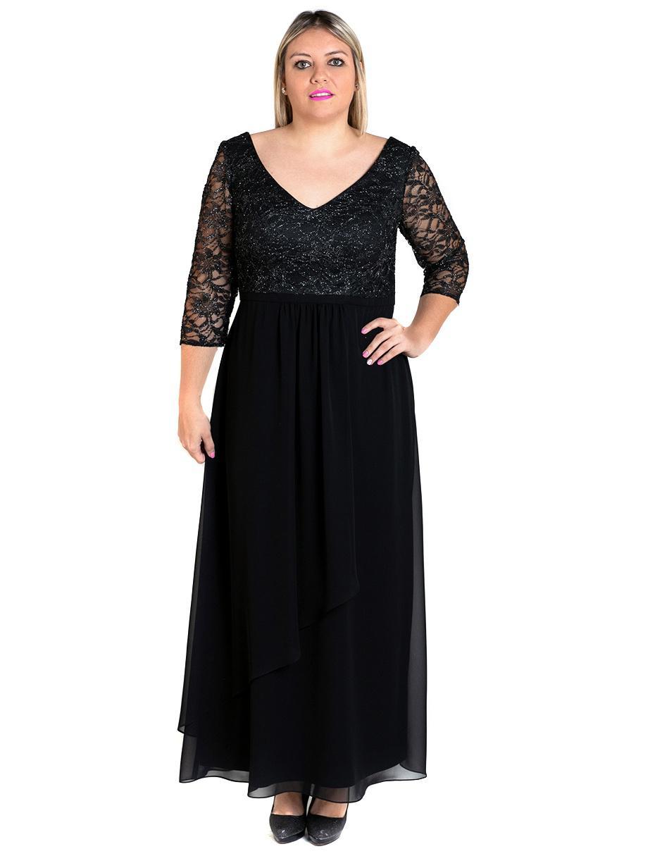 707aa7563 Vestido Rue de la Paix negro noche con encaje