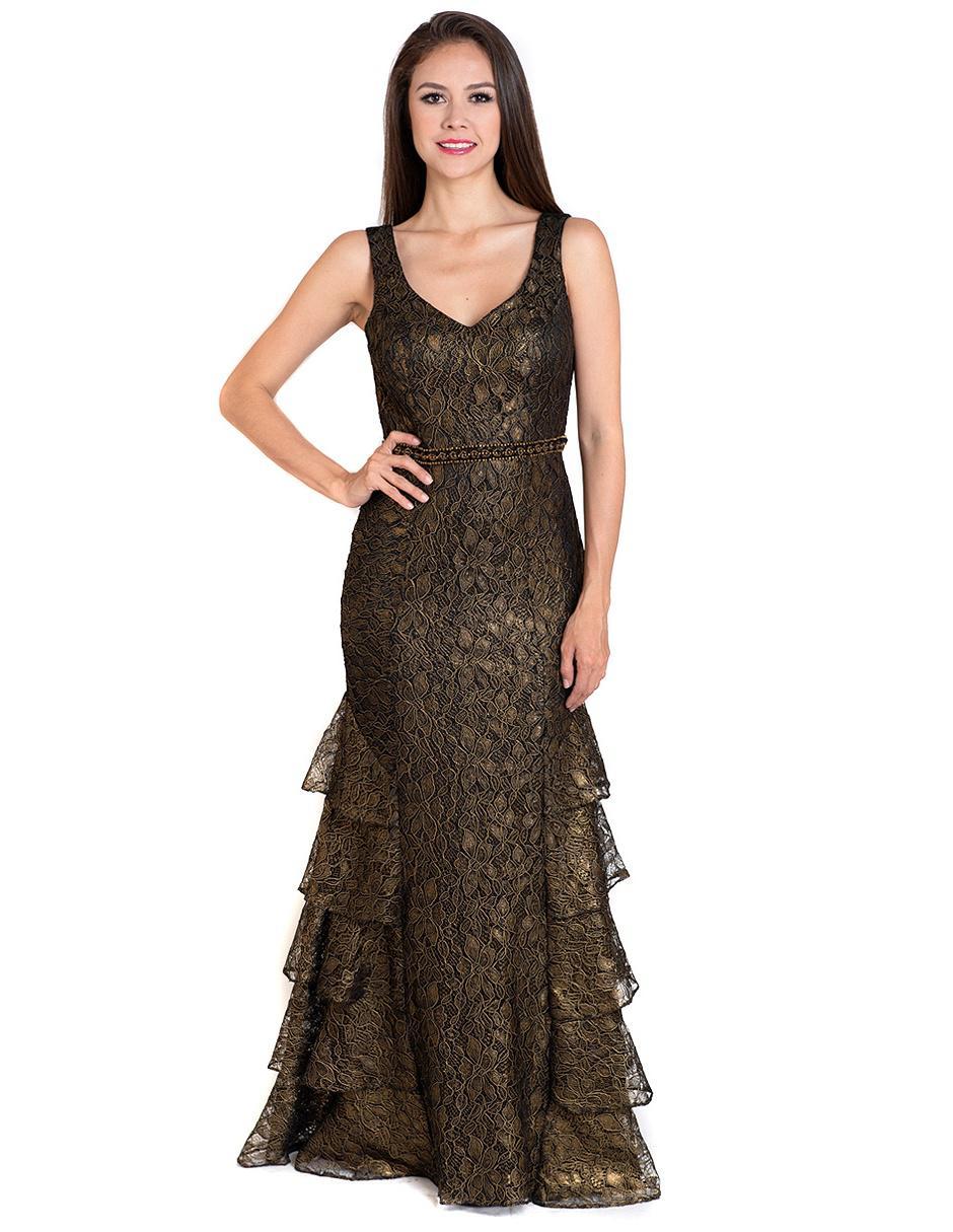 Vestido Rue De La Paix Dorado Con Diseño Floral De Noche