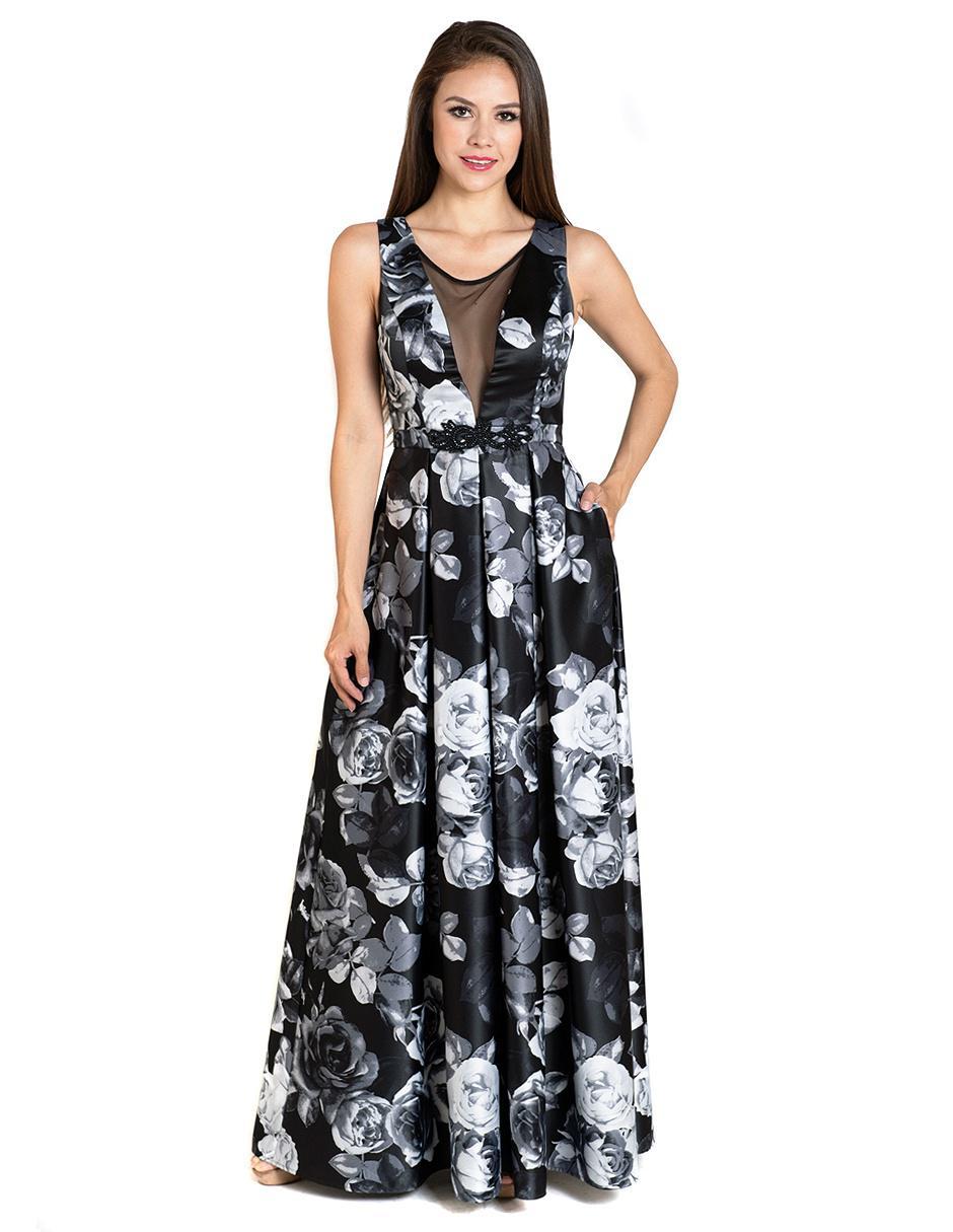 17a7ee445 Vestido Rue de la Paix azul marino con diseño floral de noche