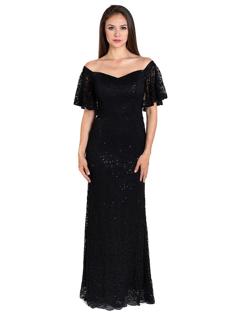 e4251e993 Vestido Rue de la Paix negro de encaje noche pedrería fantasía