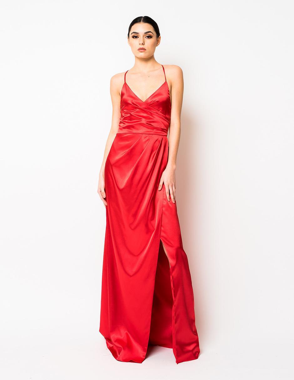 Vestido Rue De La Paix Rojo De Noche