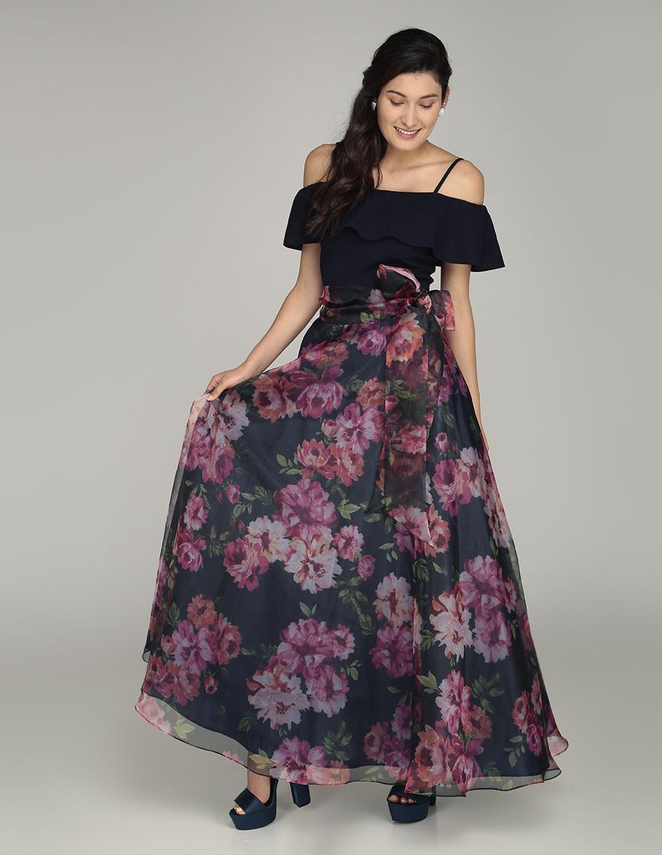 04c48ac94 Vestido Rue de la Paix con diseño floral noche