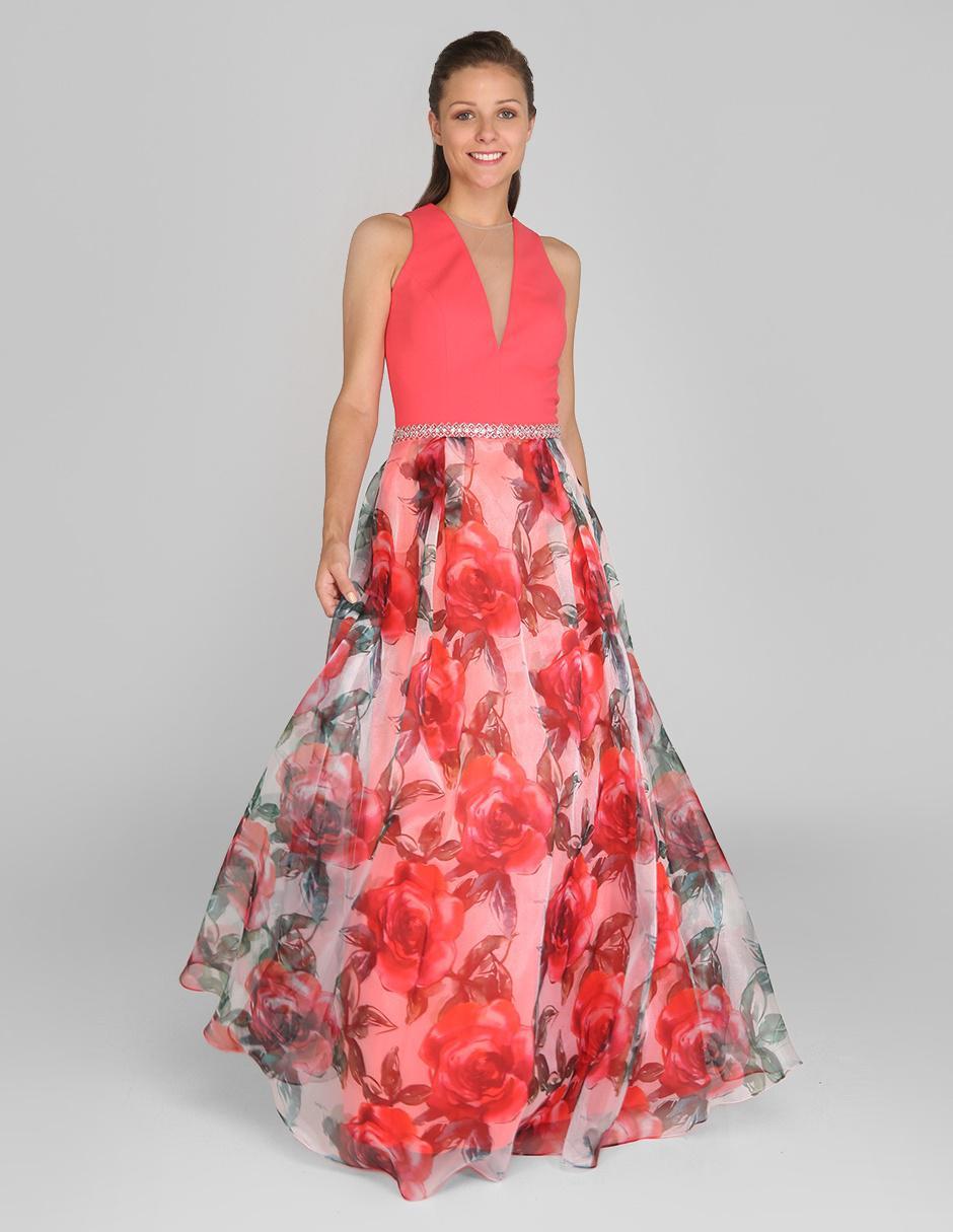 aebc974d8 Vestido Rue de la Paix coral con diseño floral noche