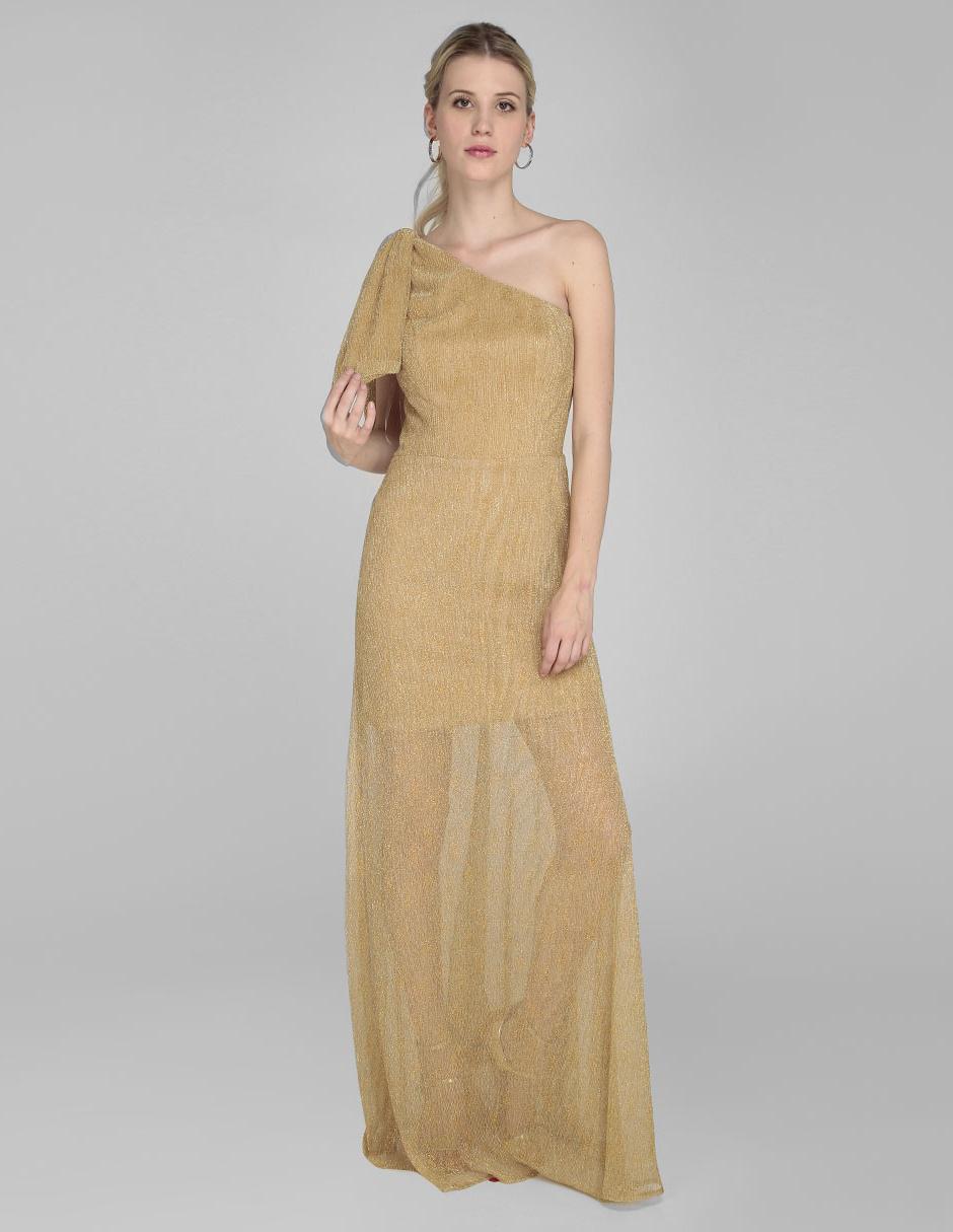 Vestido Rue De La Paix Color Oro Acanalado Noche Efecto Translúcido