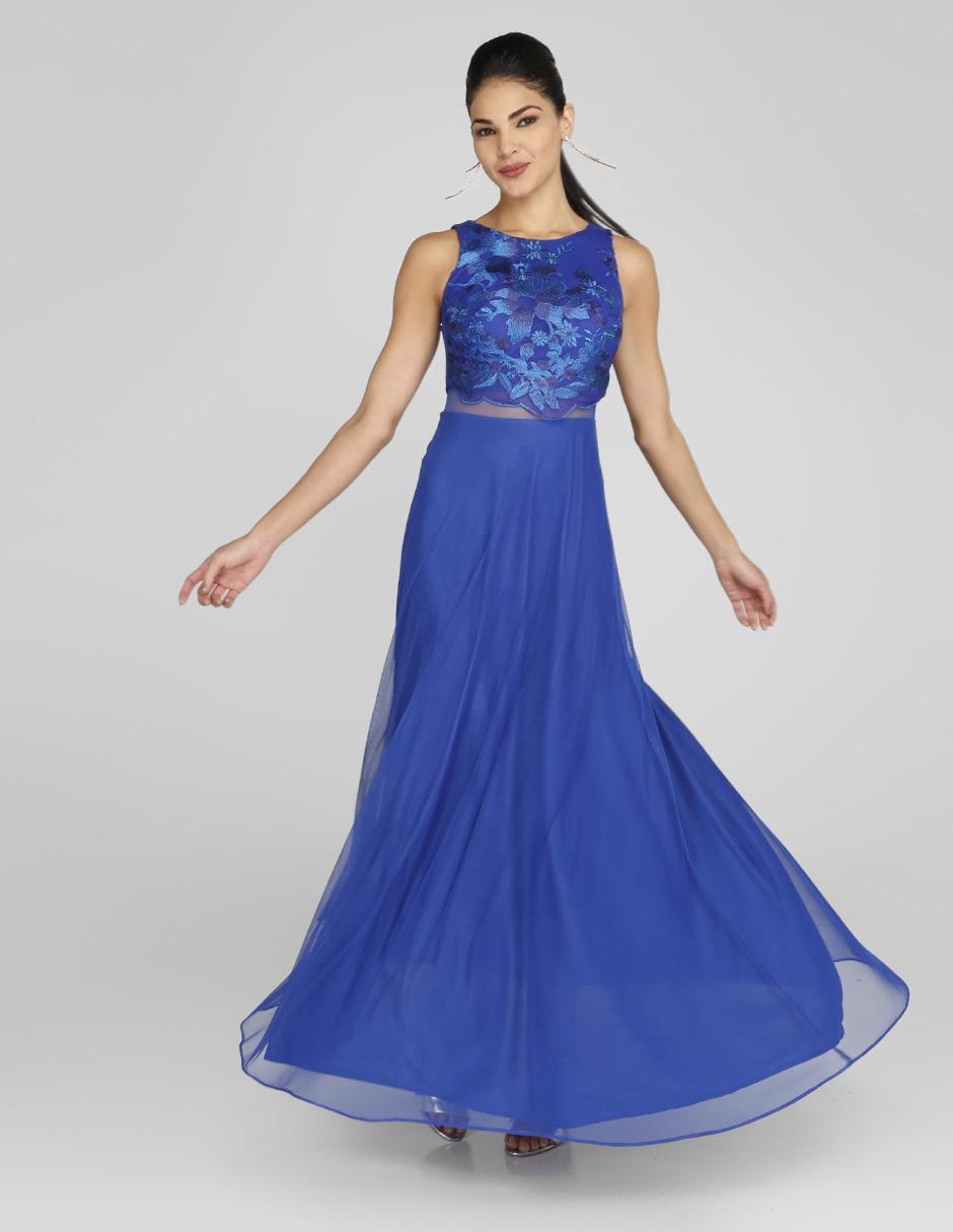 Vestido Rue De La Paix Azul Rey Noche Con Bordado