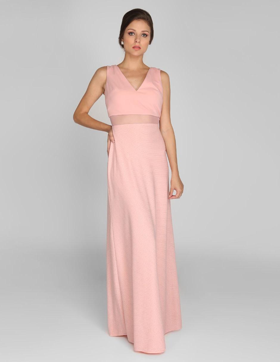 Vestido Rue De La Paix Rosa A Rayas Noche