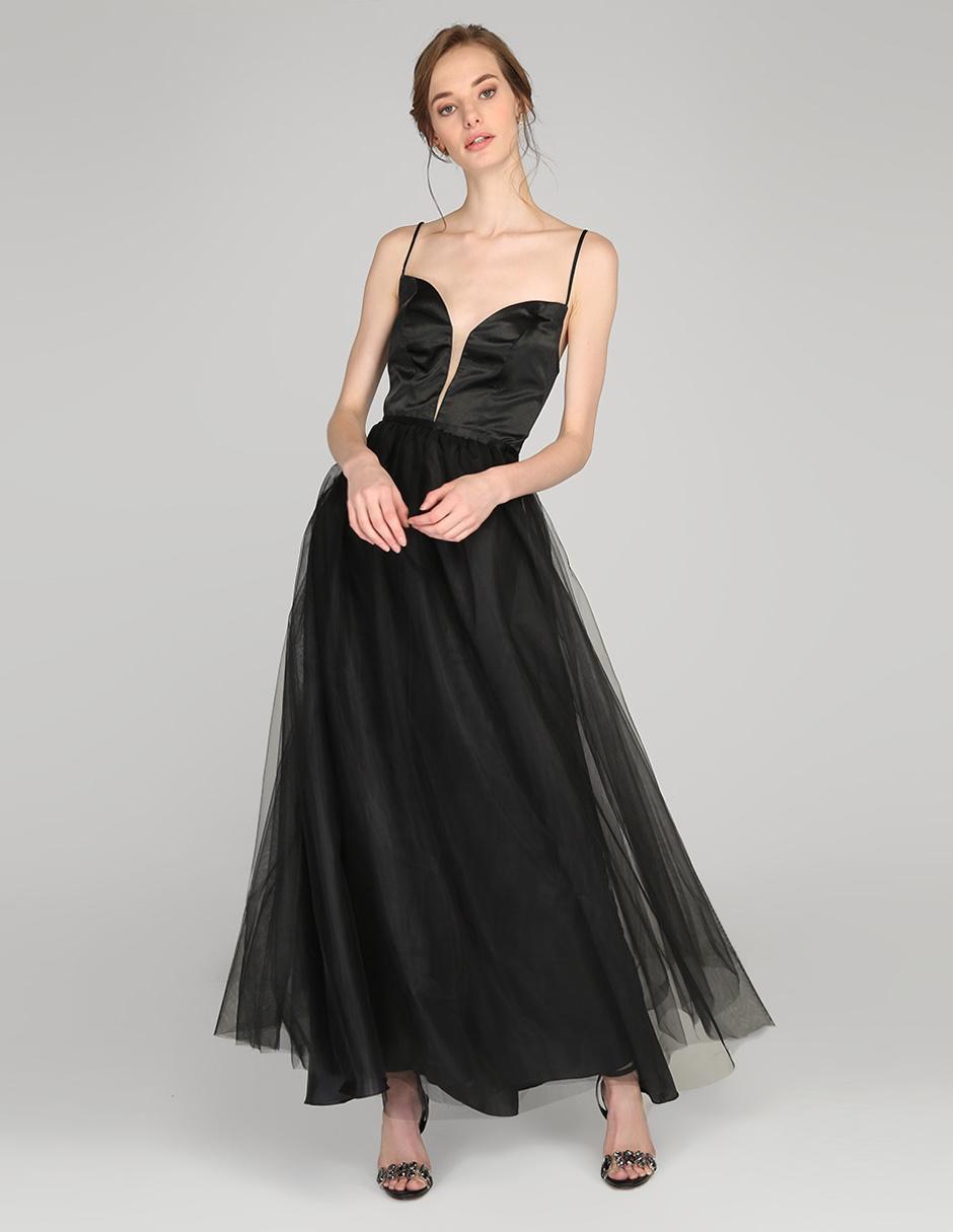 Vestido De Fiesta Rue De La Paix Negro Con Tul