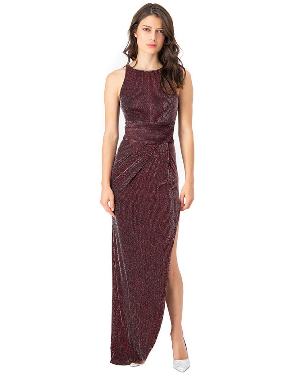 Vestido Ivonne Couture Rojo Acanalado De Fiesta