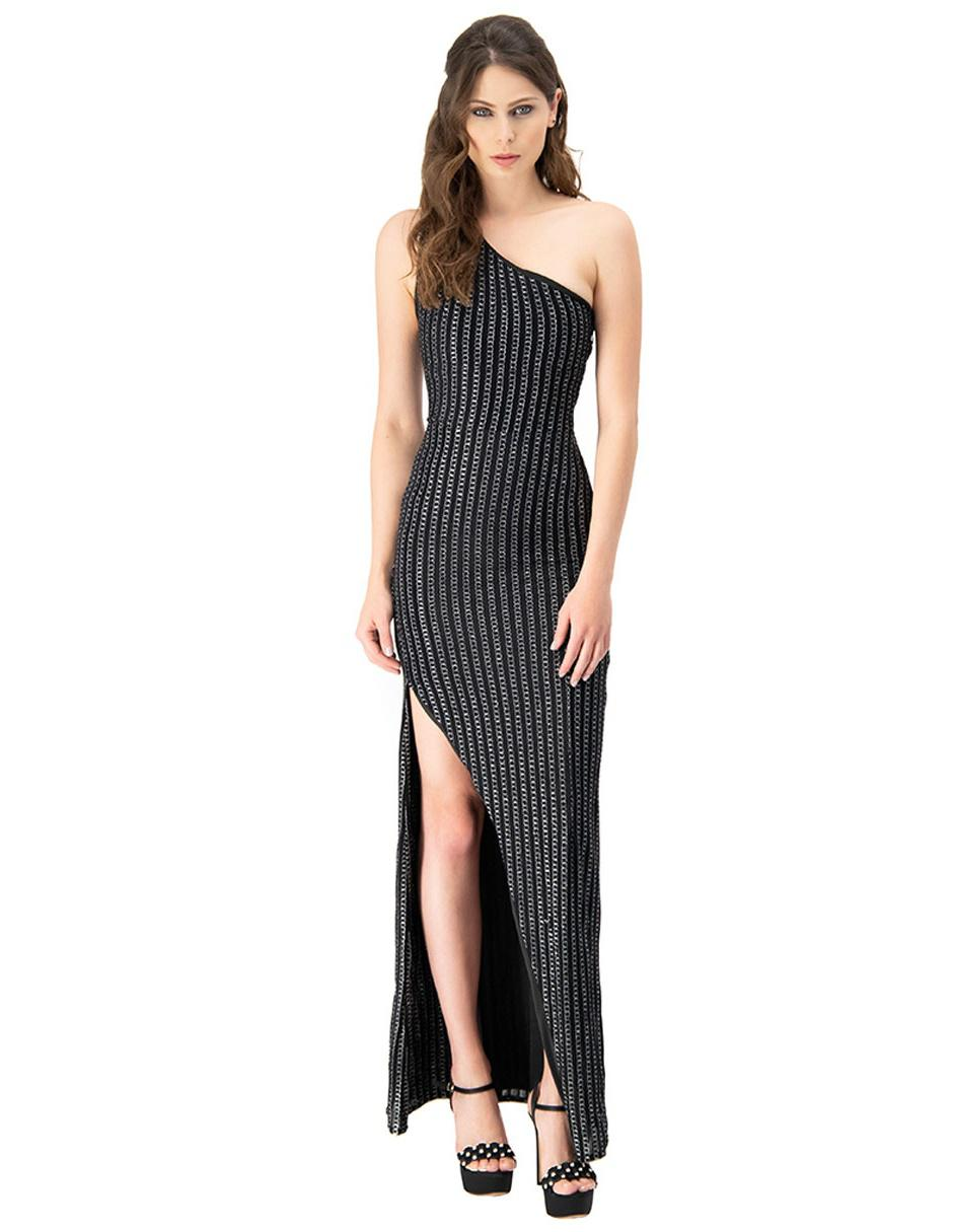 Vestido Ivonne Couture Negro Con Diseño Gráfico Corte Asimétrico