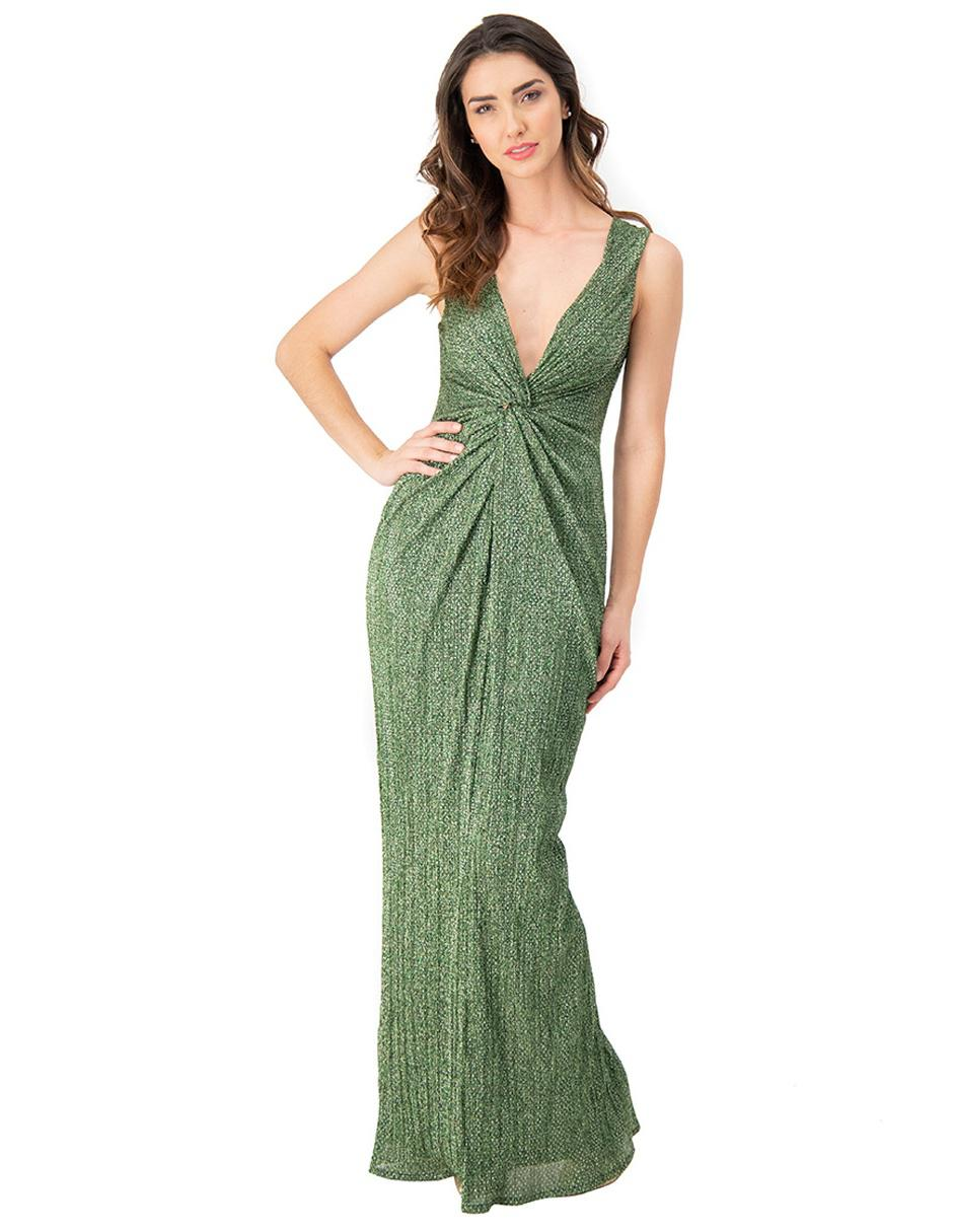 Vestido Ivonne Couture Verde Jaspeado De Fiesta