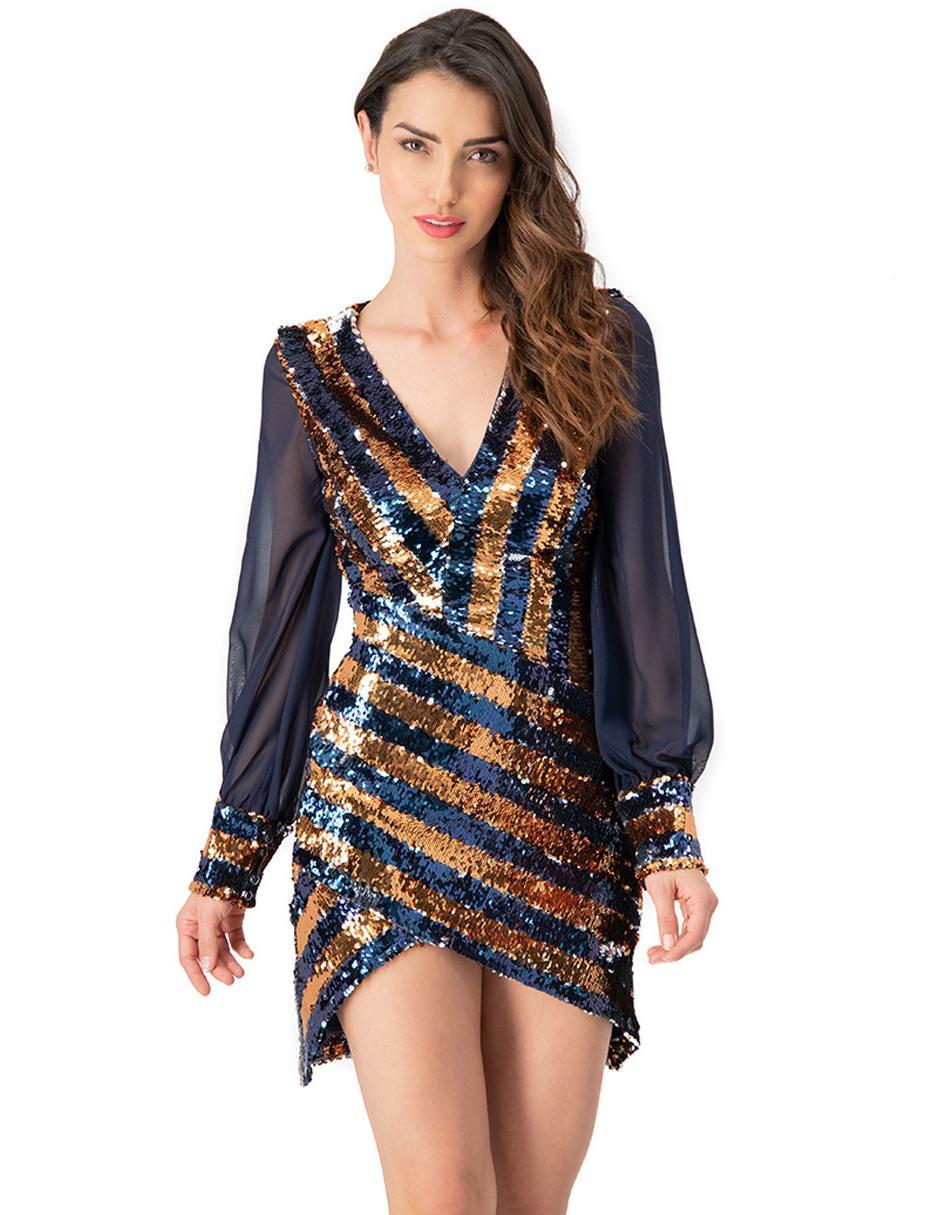 Vestido Ivonne Couture Cobre A Rayas Fiesta