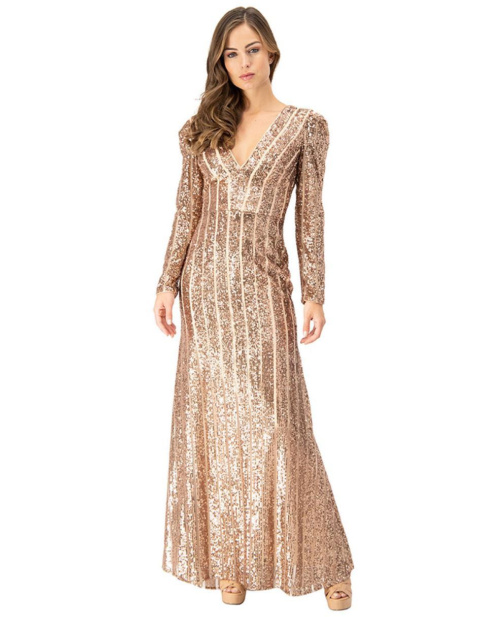 Vestido Ivonne Couture Color Oro Texturizado De Fiesta