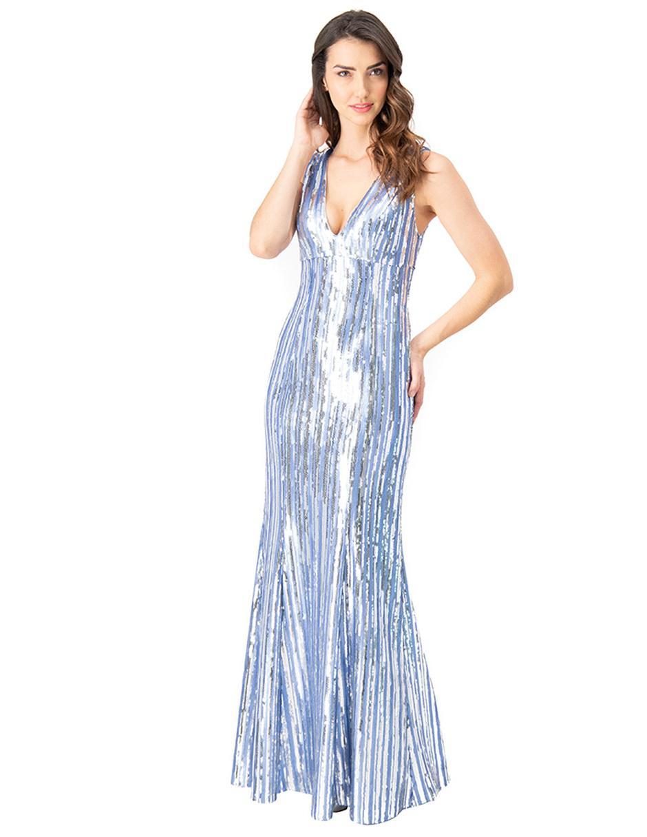 Vestido Ivonne Couture Plateado Texturizado De Fiesta