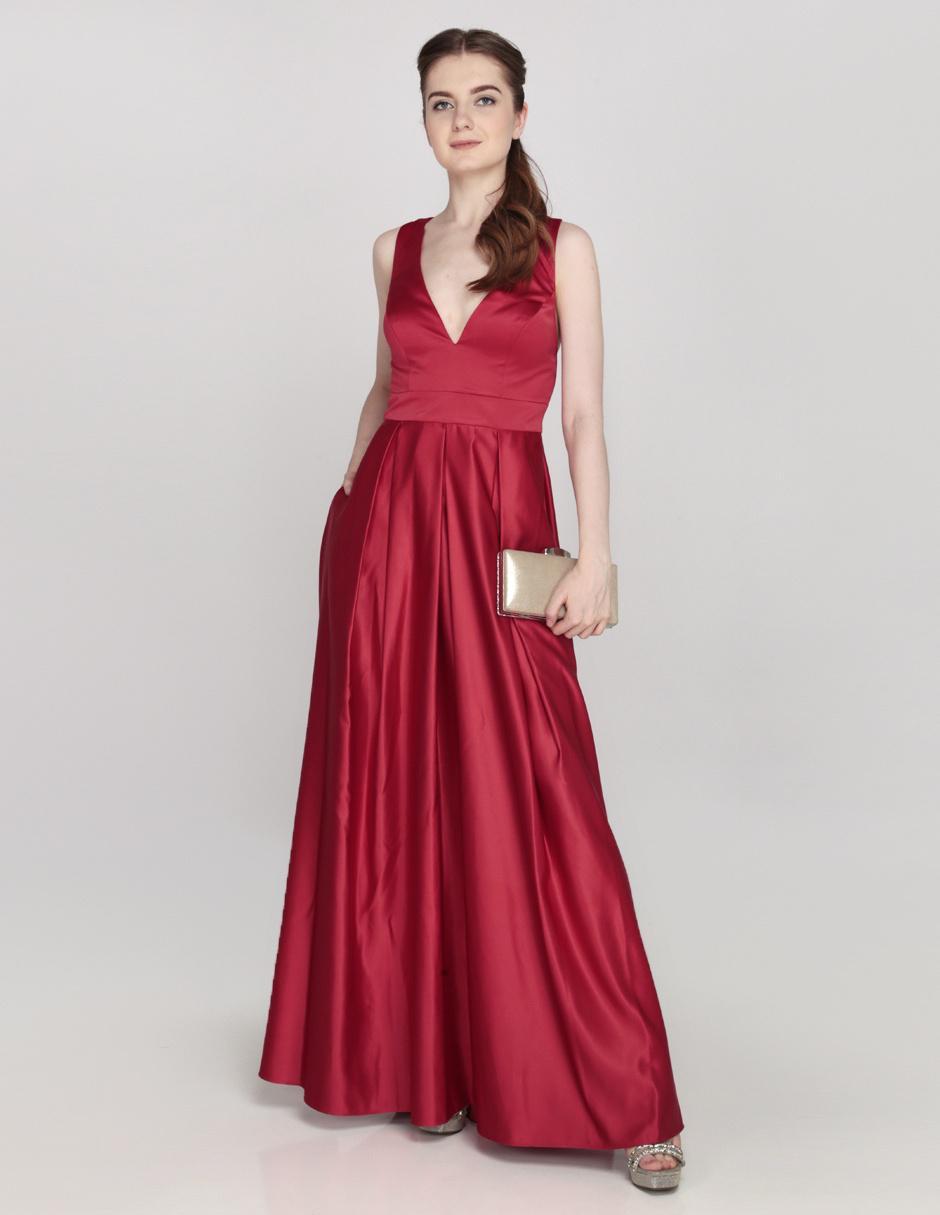 Vestido De Fiesta Brazzi J Rojo Escote Profundo