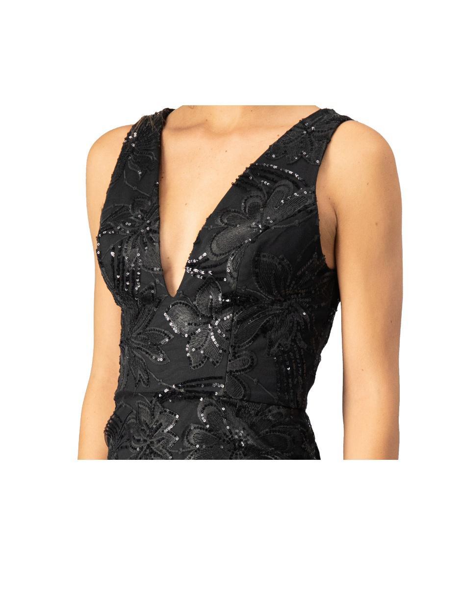 Vestido Ivonne Couture Negro Con Diseño Floral De Fiesta En