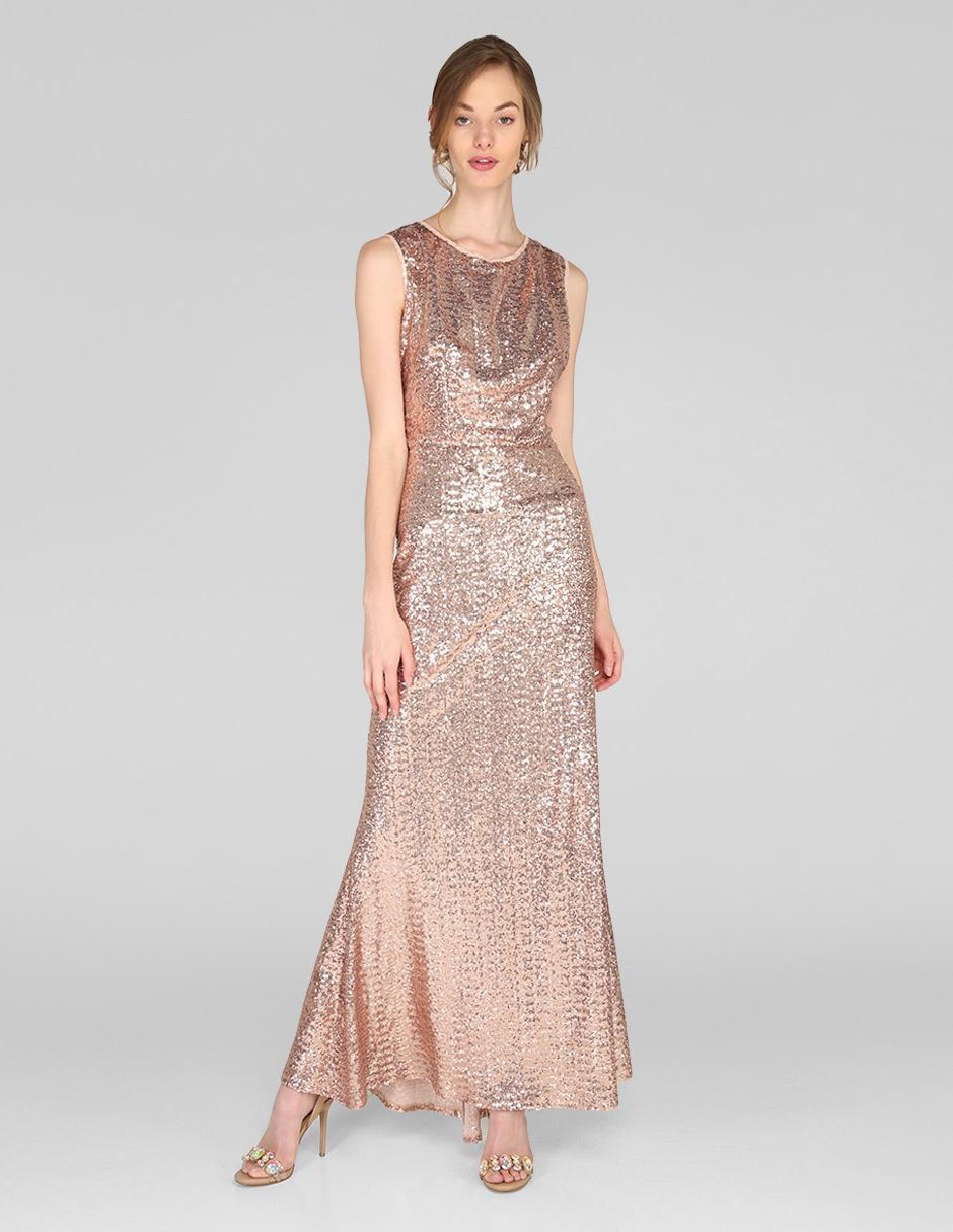 Vestido De Noche Rue De La Paix Rosa Texturizado
