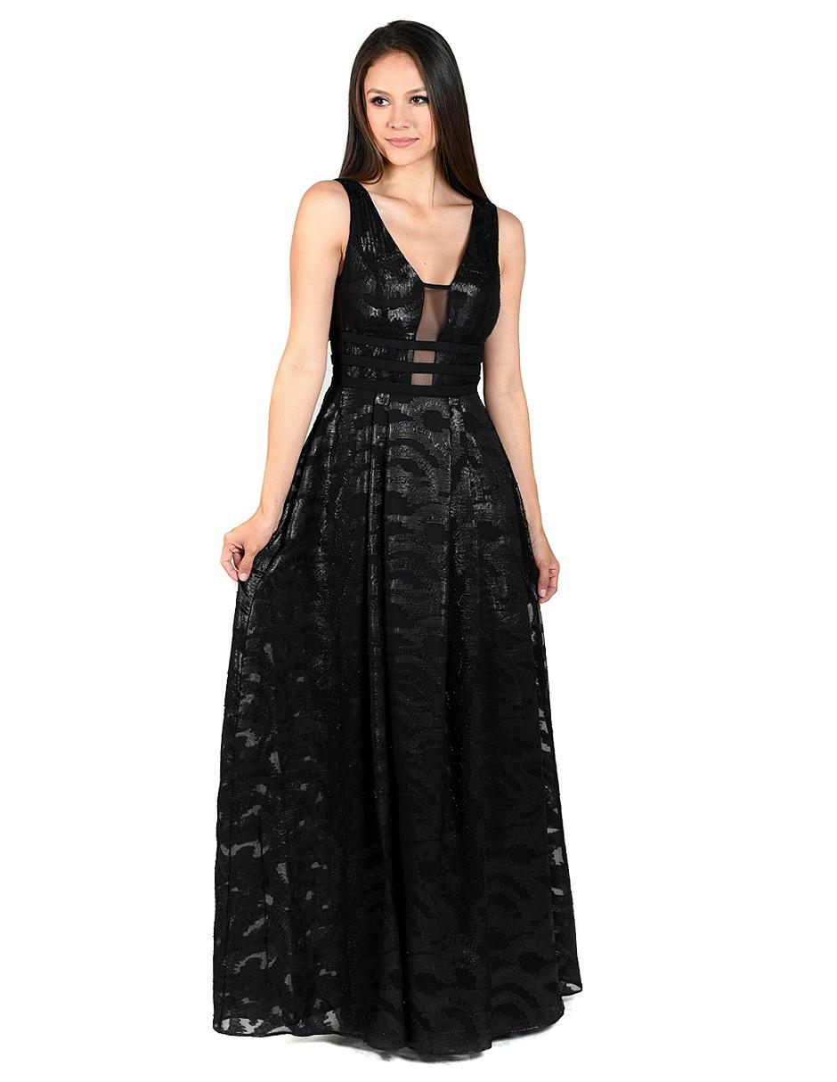 ff5385676 Vestido Rue de la Paix negro con diseño gráfico de noche