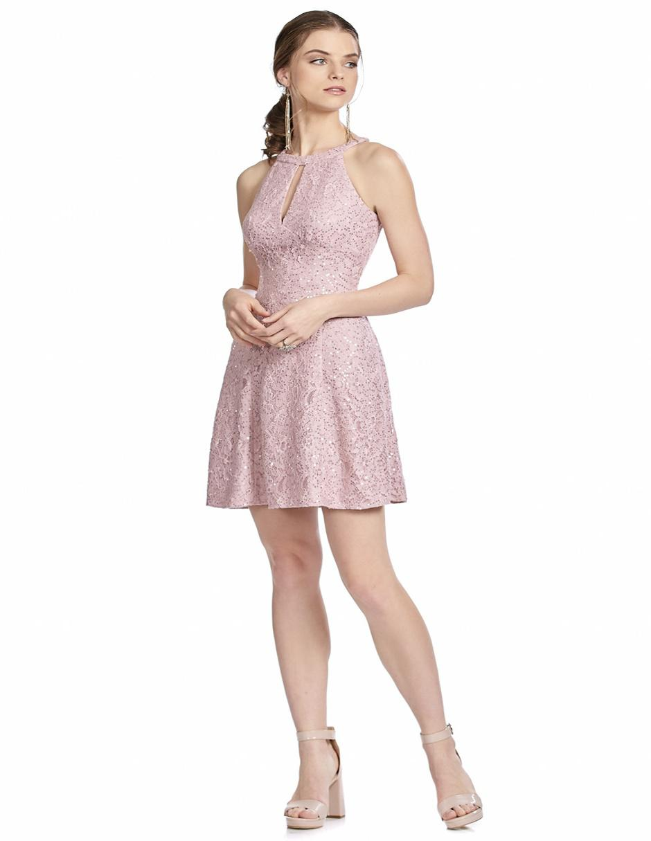 a14583c32b Vestido Eva Brazzi Cocktail rosa texturizado