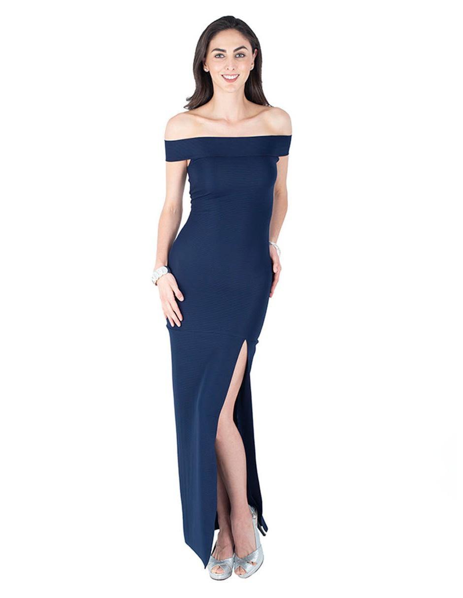 Vestido Rue De La Paix Azul Marino Acanalado De Cocktail