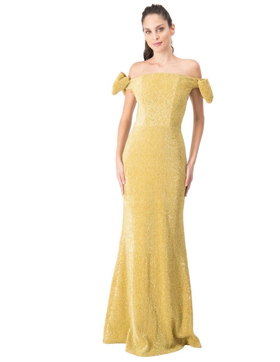 Vestido Ivonne Couture Color Oro De Fiesta Con Lentejuela