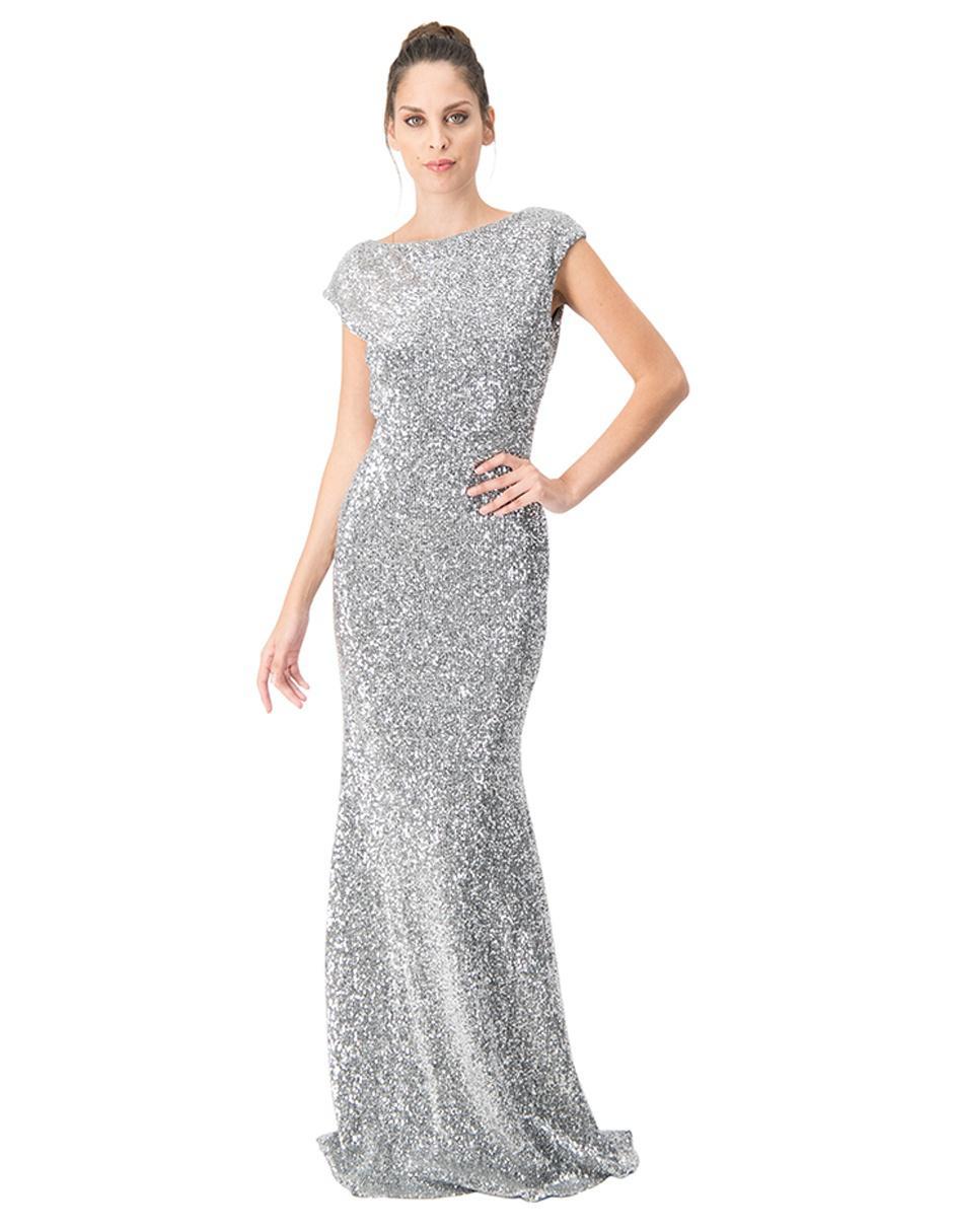 Vestido Ivonne Couture Plateado Jaspeado De Fiesta