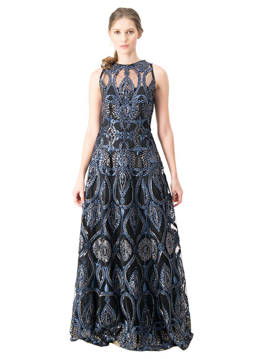 Vestido De Fiesta Ivonne Couture Azul Marino Bordado
