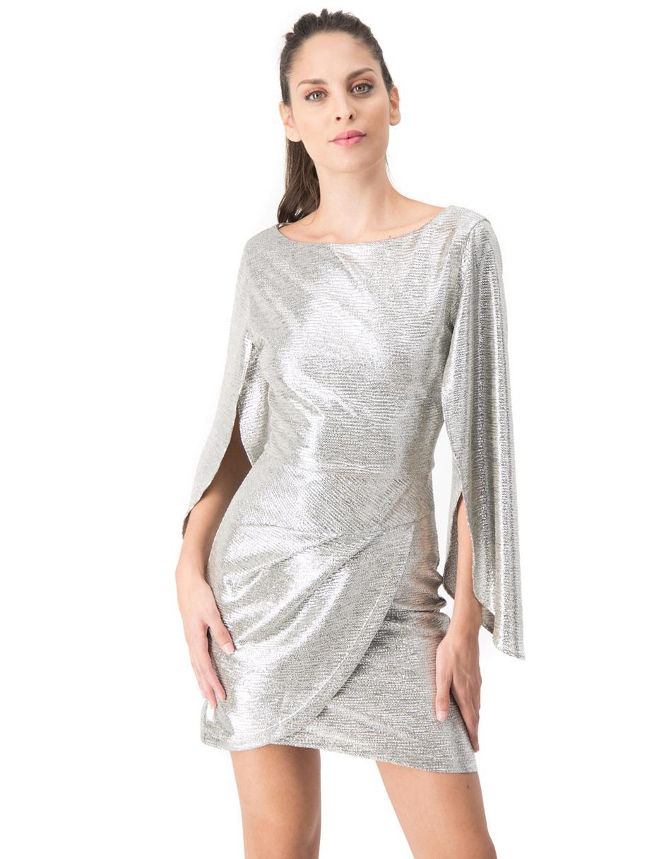 Vestido Ivonne Couture Plateado Jaspeado De Cocktail