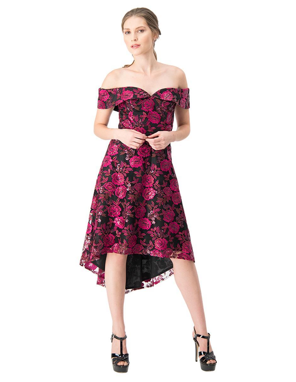 Vestido Ivonne Couture Fucsia Con Diseño Floral De Fiesta