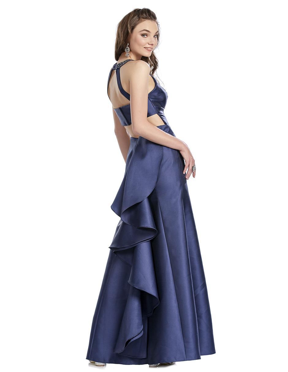 84282afc0 Vestido Brazzi J azul marino de fiesta con pedrería