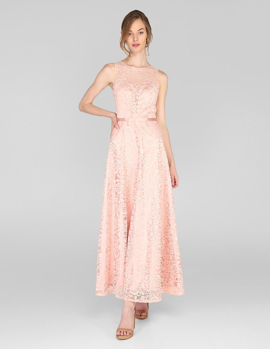 Vestido De Fiesta Rue De La Paix Rosa De Encaje