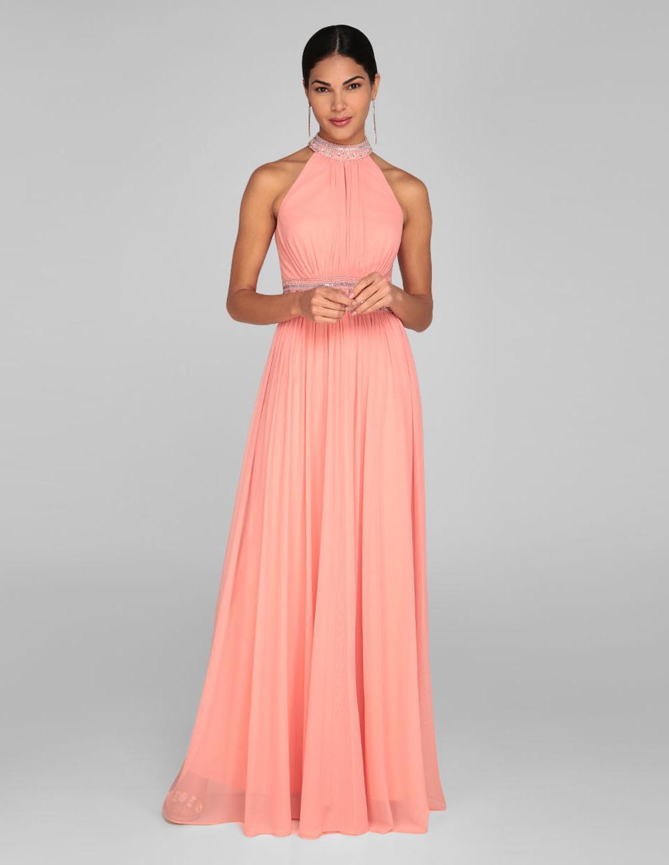 Vestido De Noche Rue De La Paix Coral Cuello Alto