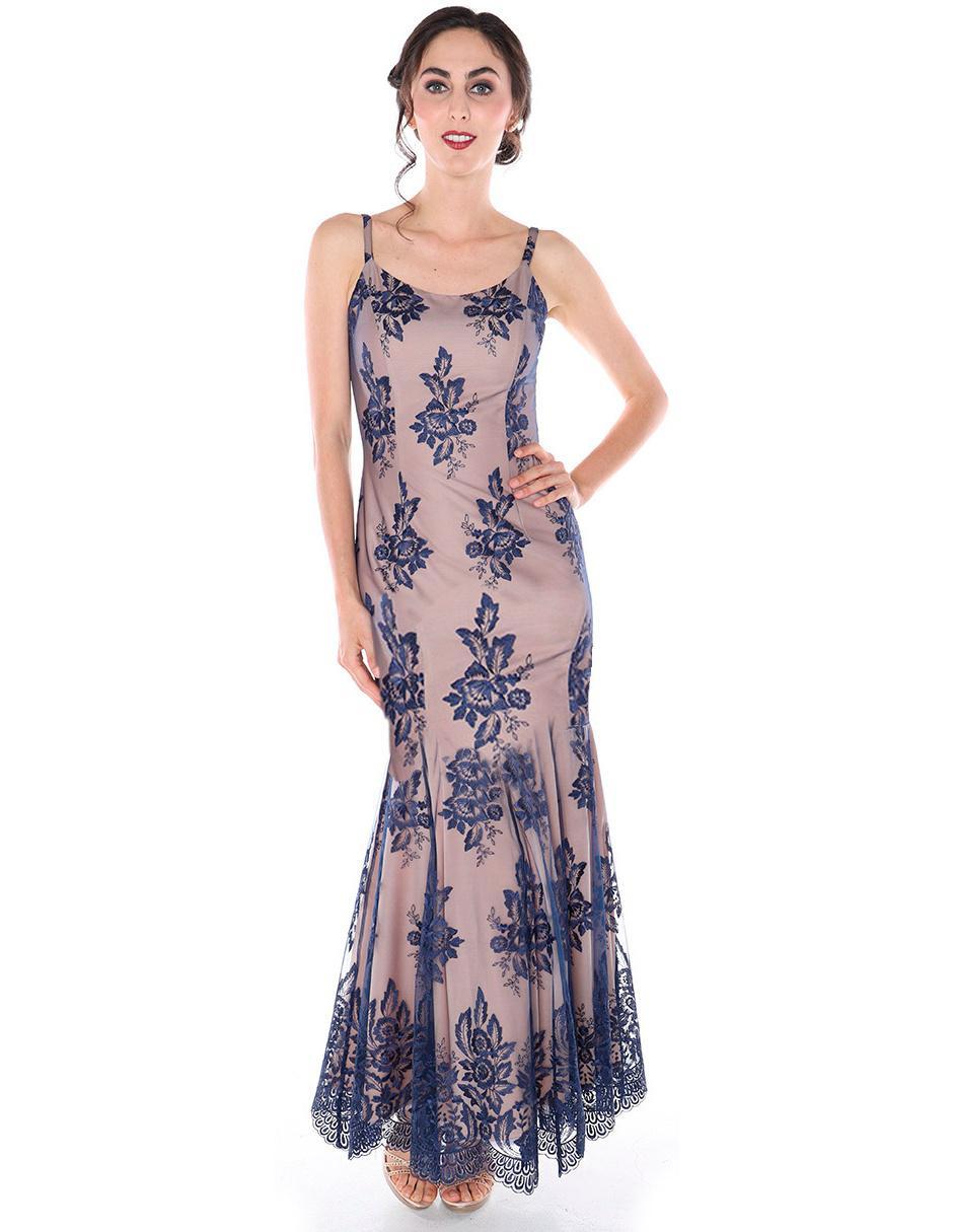 Vestido Rimini Couture Azul Marino Con Diseño Floral De Fiesta