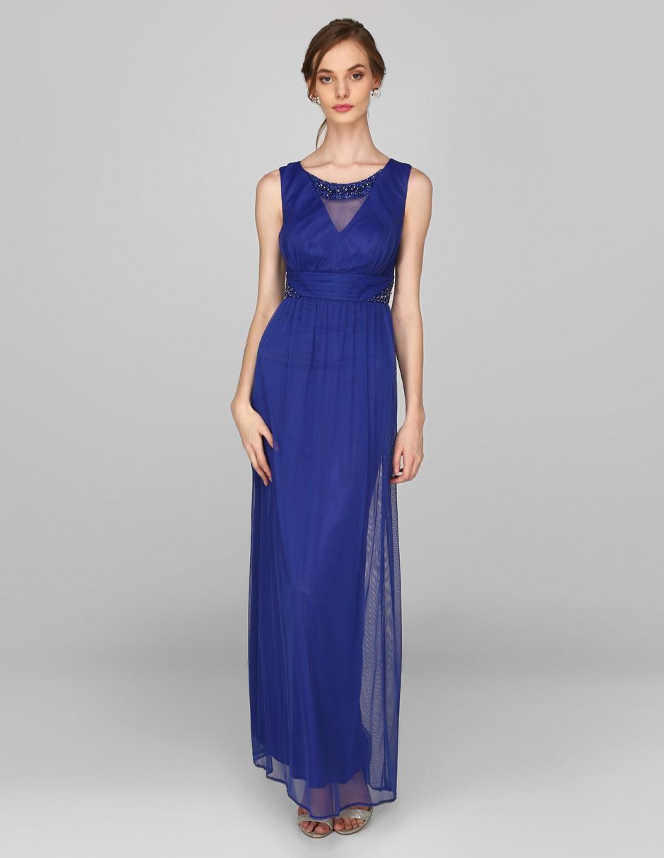 Vestido De Noche Rue De La Paix Azul Rey Con Pedrería