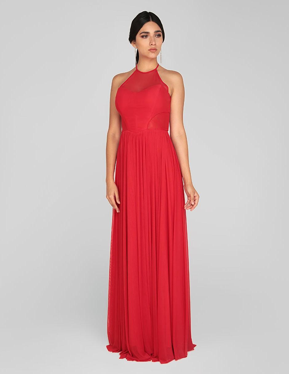 Vestido De Fiesta Rue De La Paix Rojo Con Transparencia
