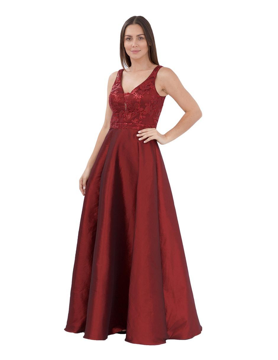 Vestido De Noche Ema Valdemossa Vino Con Bordado En Liverpool