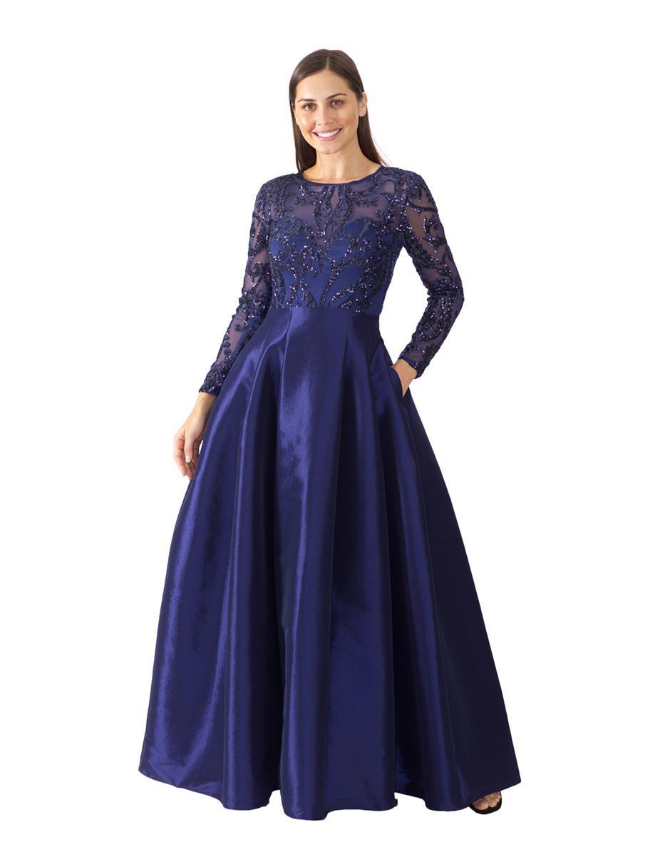 Vestido De Noche Ema Valdemossa Azul Marino Con Bordado