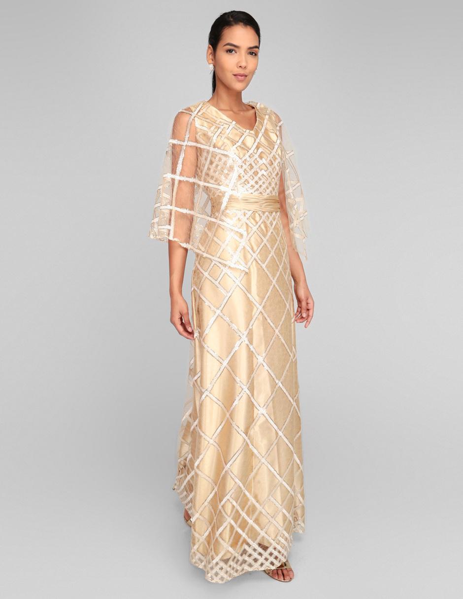 Vestido De Noche Rue De La Paix Color Oro Texturizado