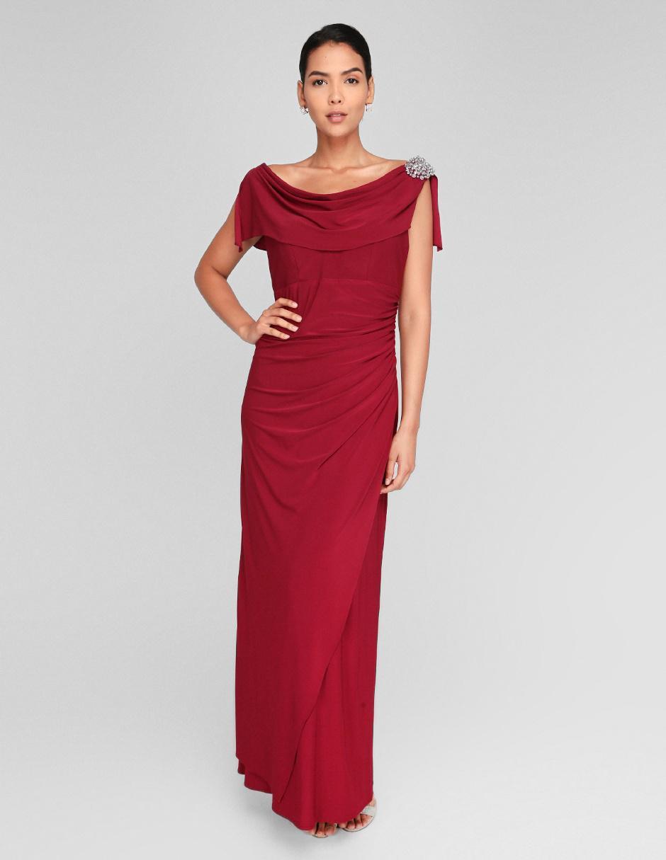 Vestido De Fiesta Rue De La Paix Rojo Obscuro Con Pedrería