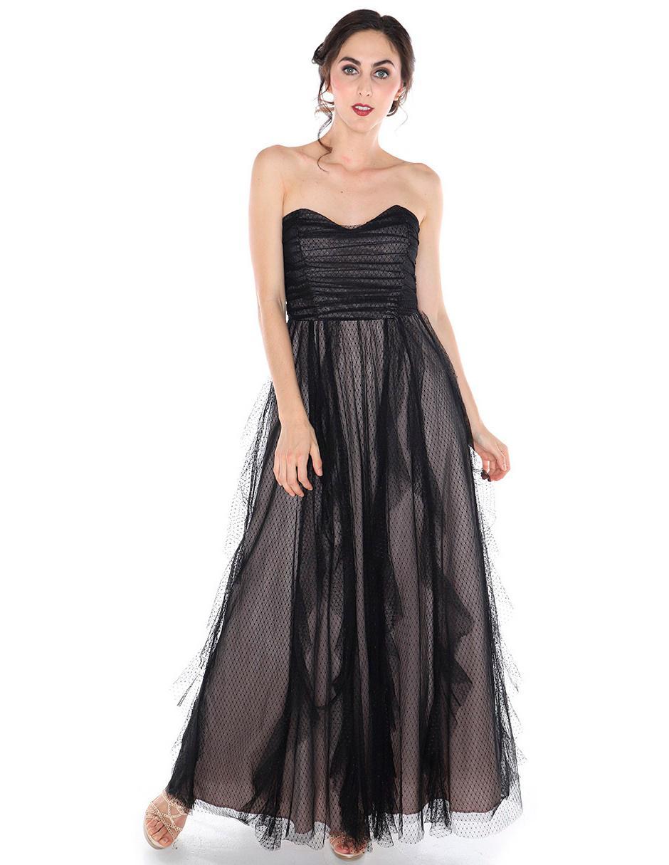 Vestido Fiesta Rimini Couture Negro Texturizado
