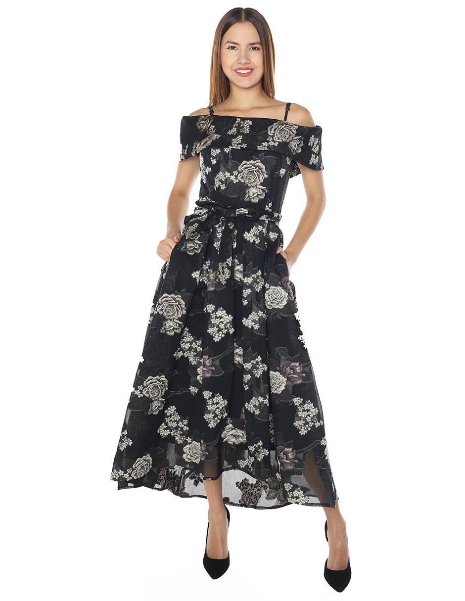 Vestido De Fiesta Rimini Couture Negro Con Diseño Floral
