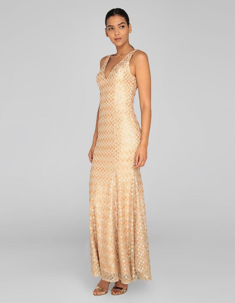 Vestido De Noche Mia Paluzzi Dorado Con Diseño Gráfico Lentejuela