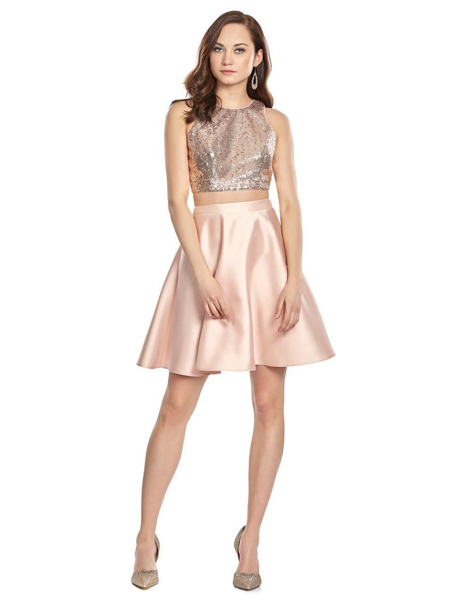 Vestido Eva Brazzi Cocktail Rosa Con Lentejuelas