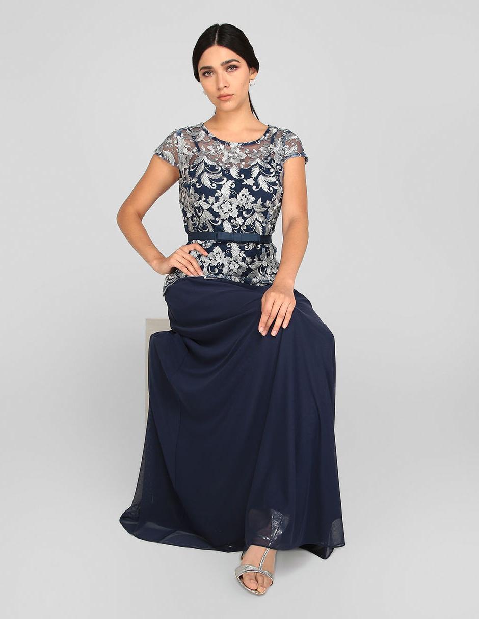 Vestido De Noche Rue De La Paix Azul Marino Con Bordado