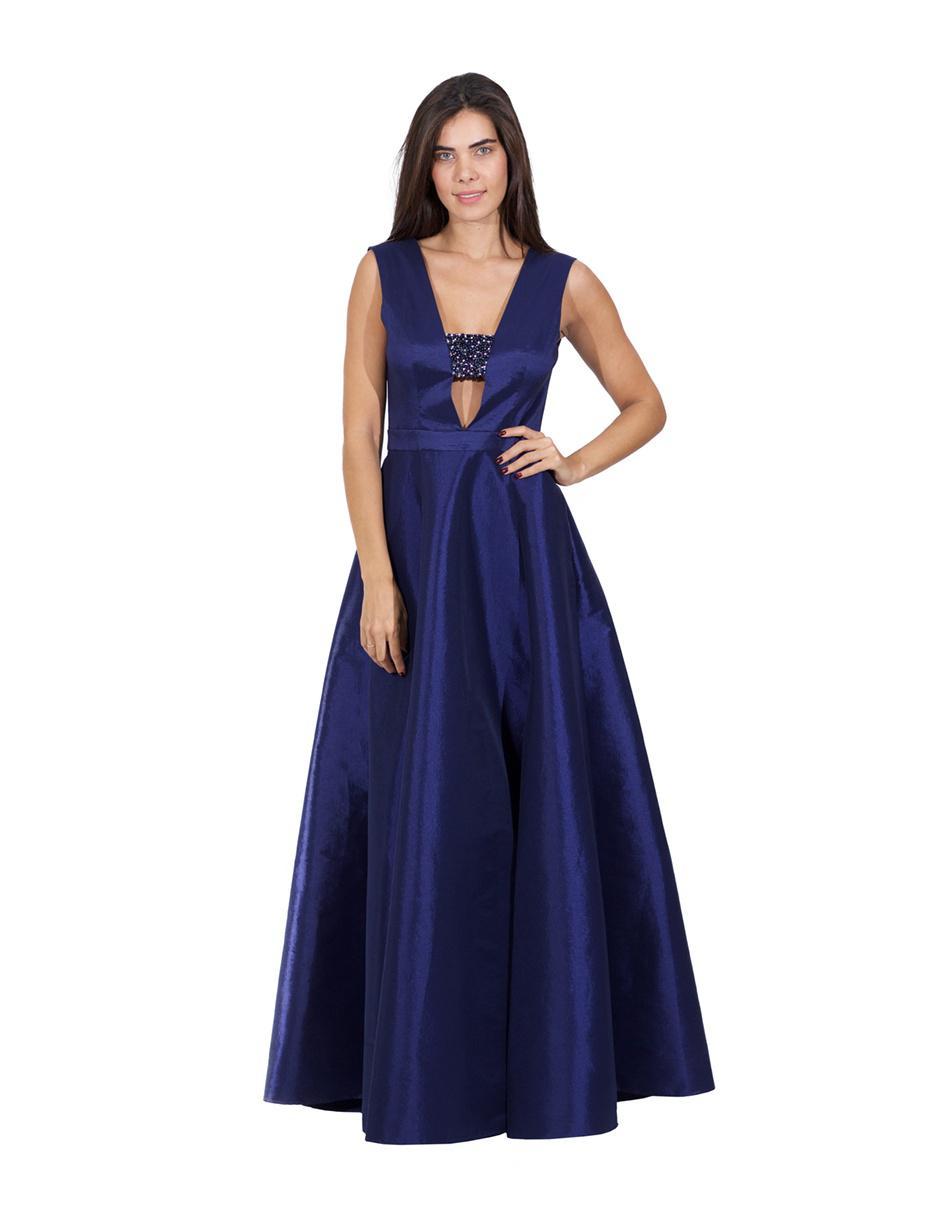 Vestido De Noche Rue De La Paix Azul Marino