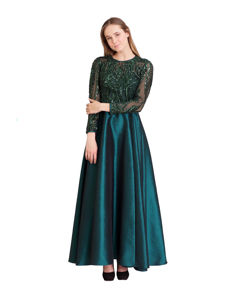 Vestido De Noche Ema Valdemossa Verde Esmeralda Texturizado