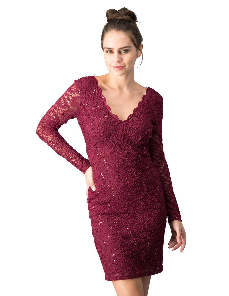 Vestido De Noche Ivonne Couture Vino De Encaje