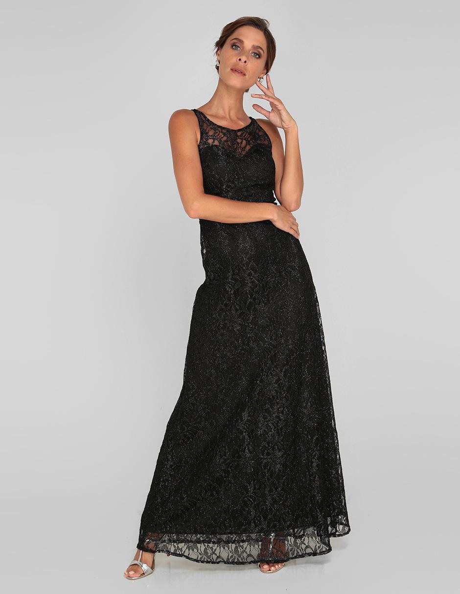 Vestido De Fiesta Rue De La Paix Negro De Encaje Con Glitter