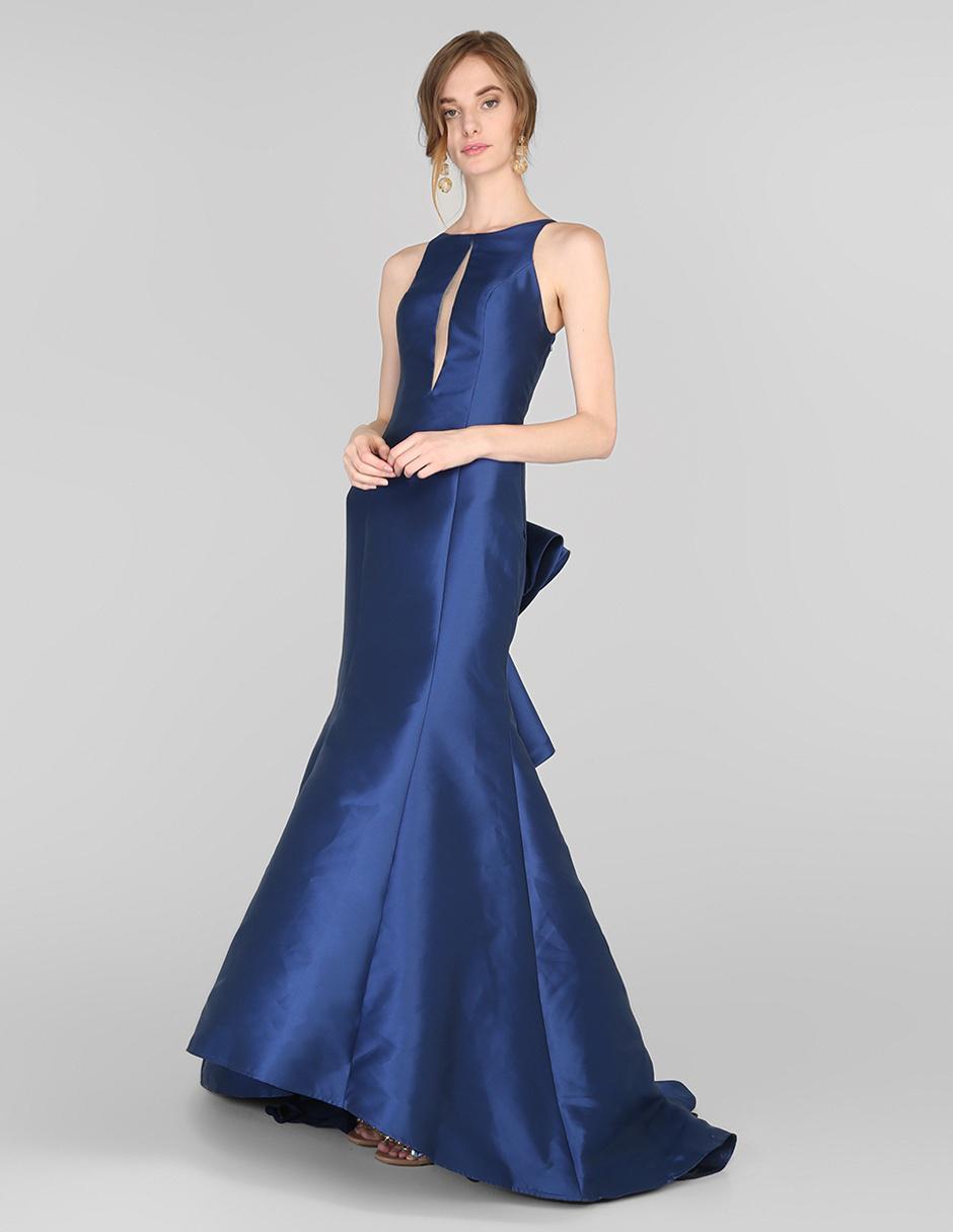 Vestido De Fiesta Rue De La Paix Azul Con Pedrería De Fantasía