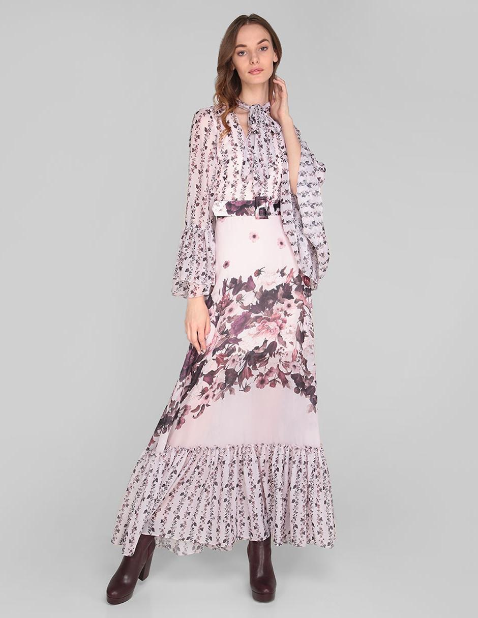 Vestido De Fiesta Rue De La Paix Rosa Claro Con Diseño Floral Cinturón